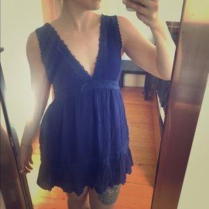 dina be Dresses - Deep V, Deep Blue dress